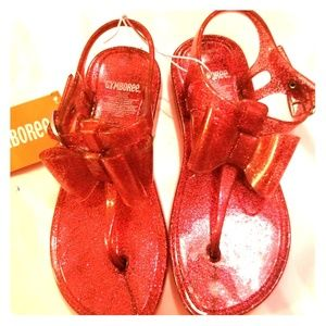 Sparkly red jelly sandals
